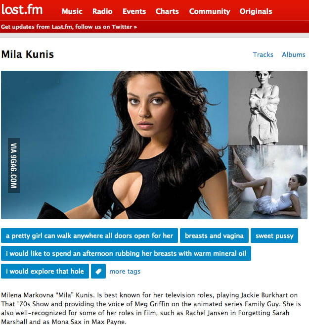 The tags for Mila Kunis on last.fm are so honest.