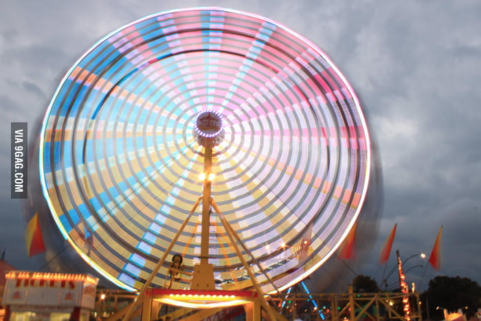 Ferris wheel on a long exposure