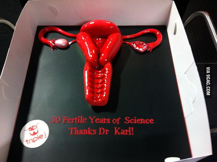 A uterus cake for Dr Karl!