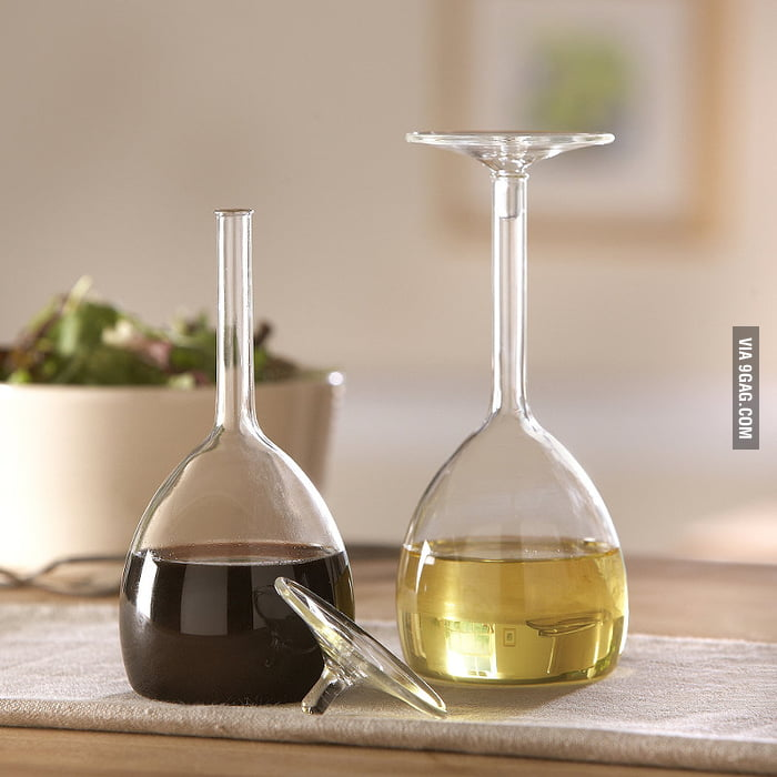 Upside down wine glasses for oil & vinegar