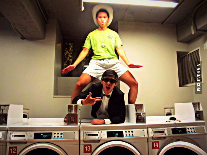 My Korean friends did a Gangnam Style at their local laundry