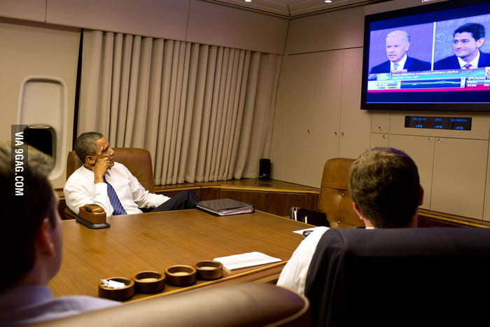 President Obama watching the Vice-President Debate