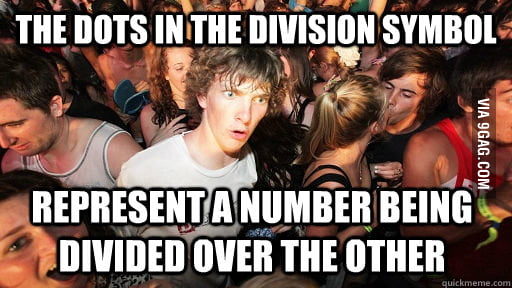 The story behind the dots in the division symbol