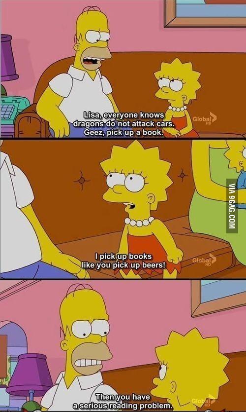 Lisa Simpson has a reading problem