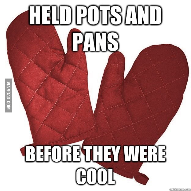 Hipster oven mitts