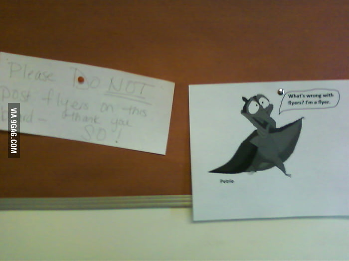 """They shouldn't put """"no flyers"""" on the board. Poor Petrie."""