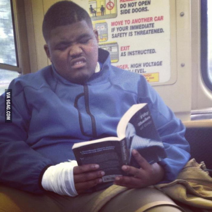 Reading Fifty Shades of Grey.