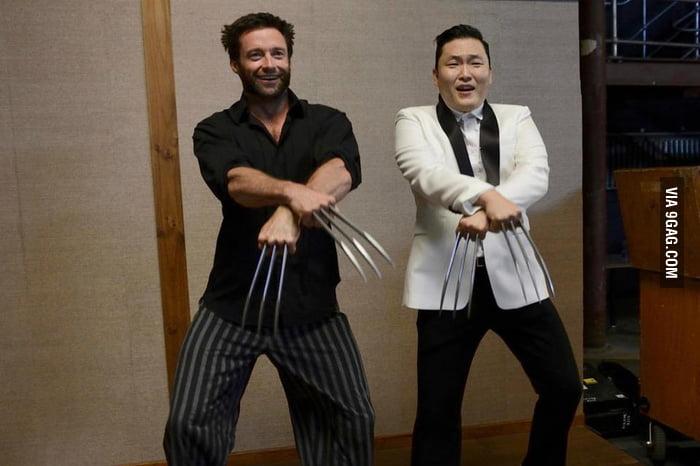 Hugh Jackman and PSY dancing Gangnam Style