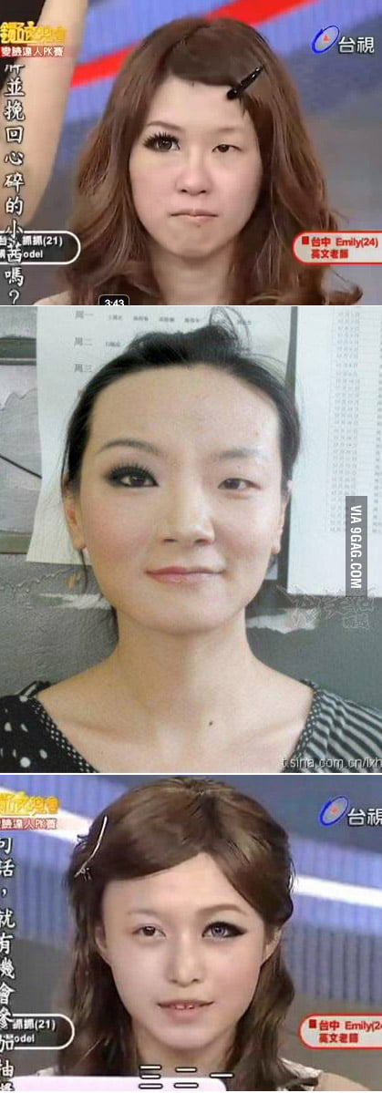 Asians girls with make on half their faces