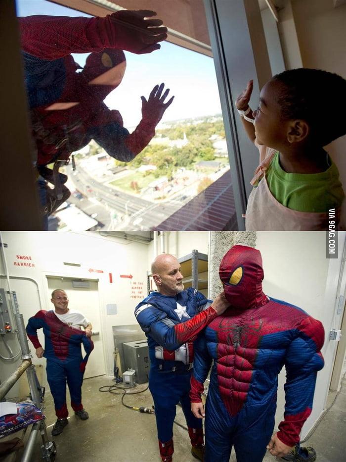 Spider-Man washes windows at children's hospital