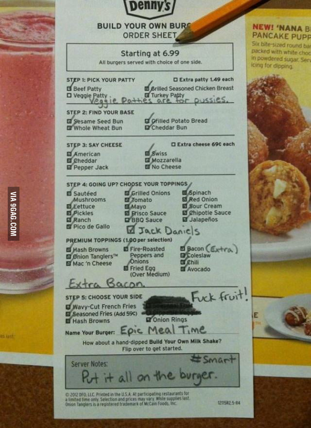 """Denny's is going to regret their """"Make Your Own Burger"""" menu"""