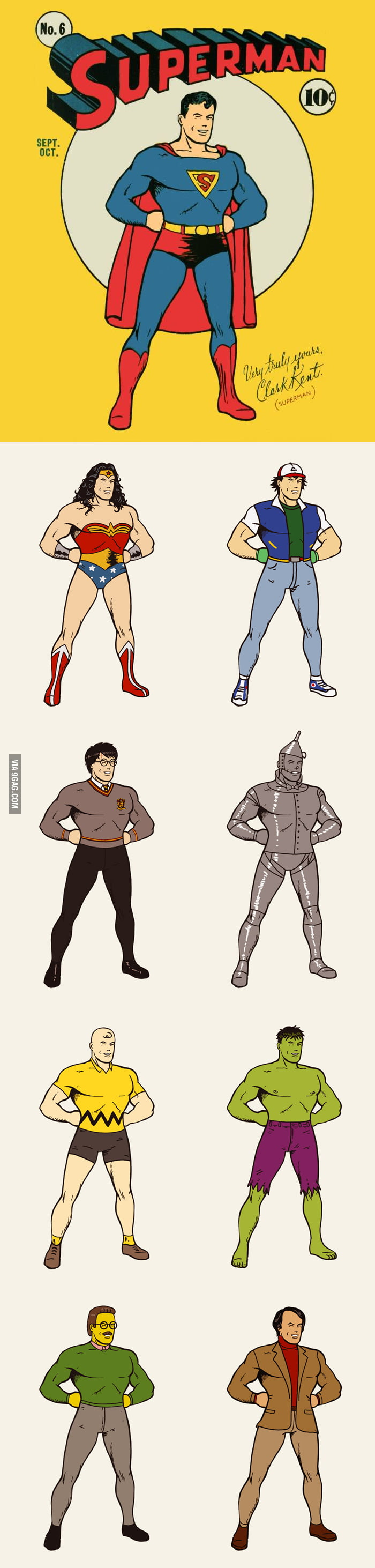 Superman in different costumes