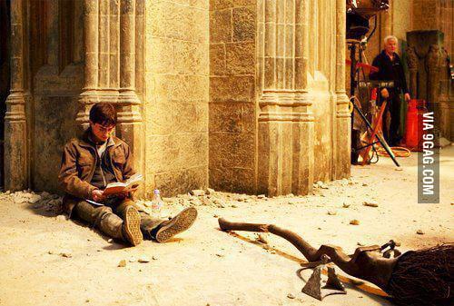 Harry Potter reading Harry Potter on the set of Harry Potter