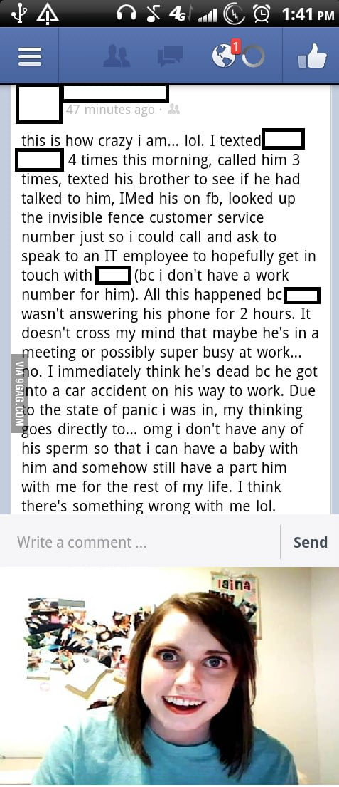 This takes Overly Attached Girlfriend to a new level.