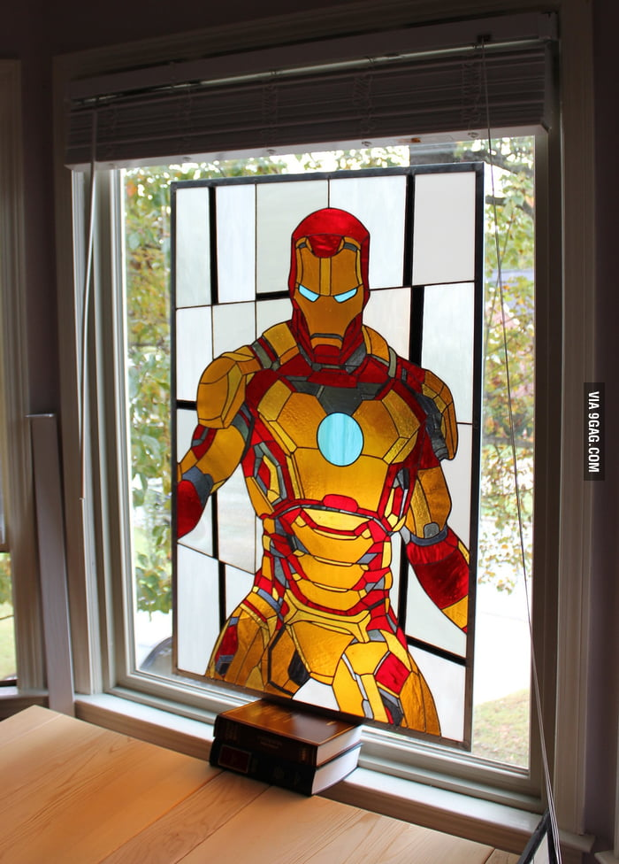 Iron Man in Stained Glass Windows