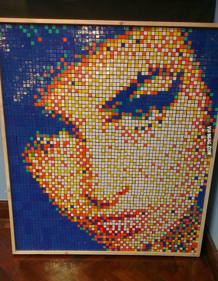 Amy Winehouse portrait made entirely out of Rubik's Cubes.