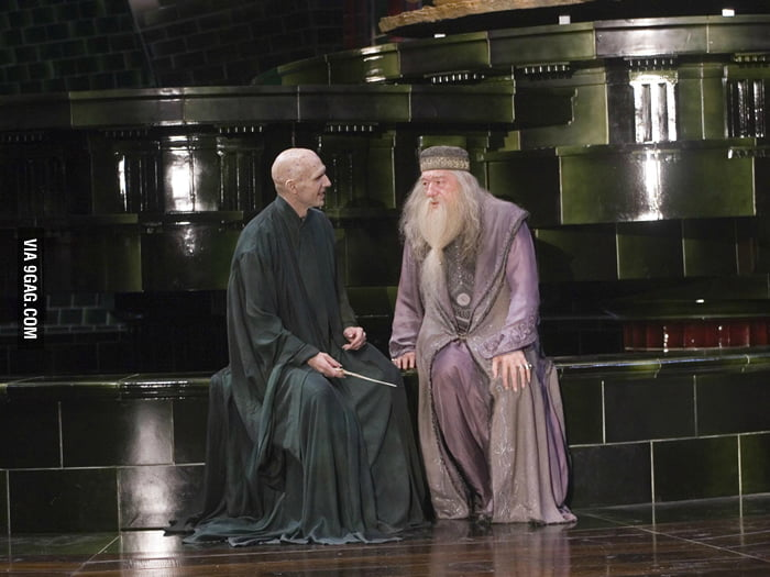 What are Voldemort and Dumbledore talking about?