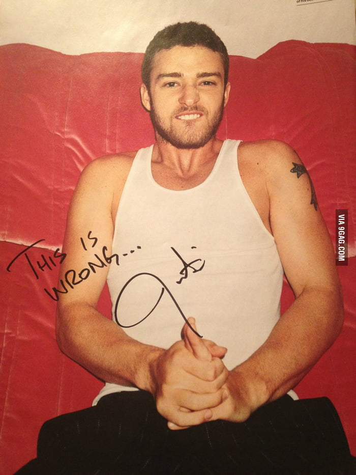 Asked Justin Timberlake to sign this picture of him.