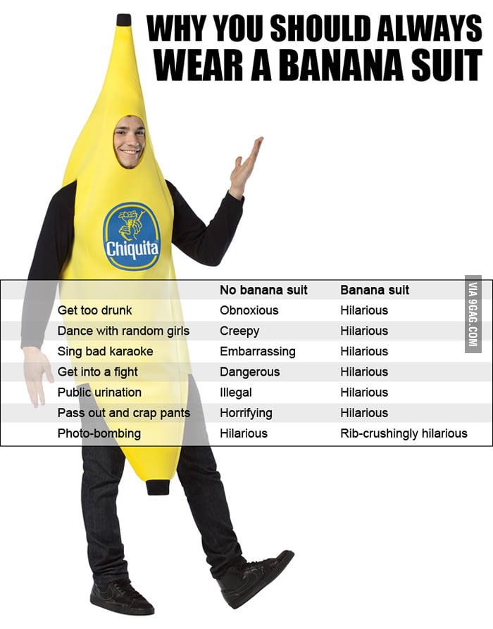 Why you should always wear a banana suit.