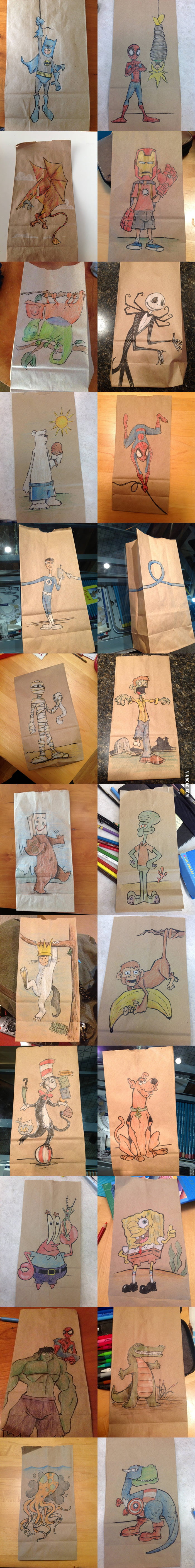 Lunch bag drawings from a father