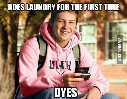 College Freshman does laundry the first time.