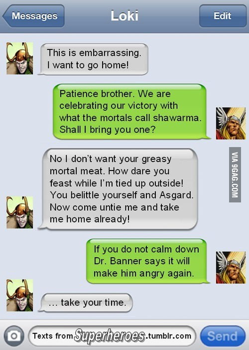 Thor/Loki texting. Never gets old! | Avengers texts ... |Funny Thor And Loki Text