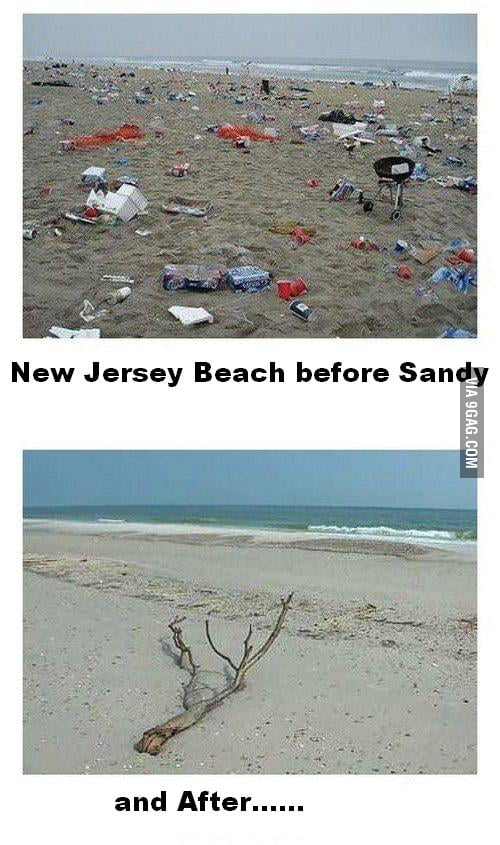 New Jersey Beach before and after Hurricane Sandy.