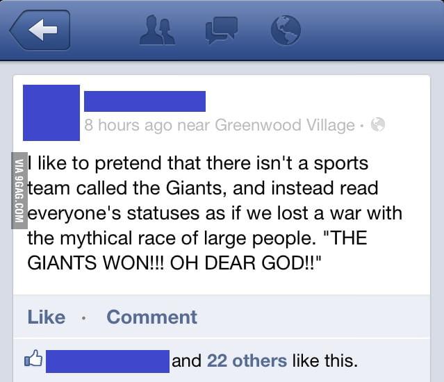 My friend is not a fan of San Francisco Giants or baseball.