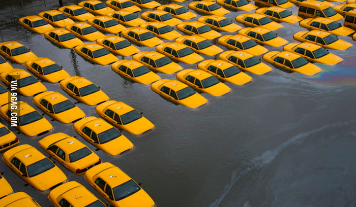 Hurricane Sandy doesn't like taxi.