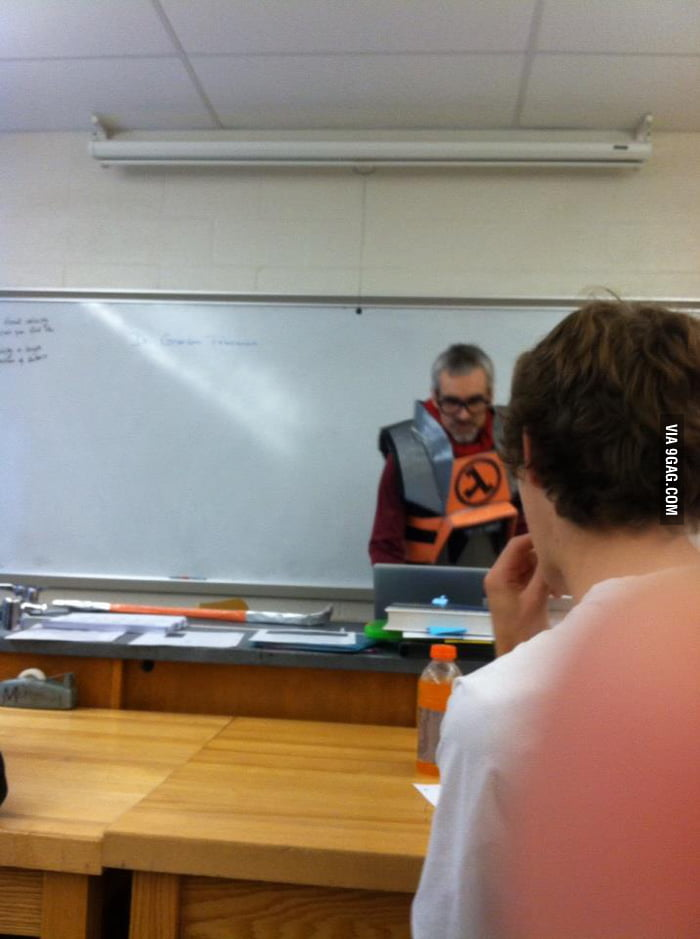 My science teacher is ready for Halloween.