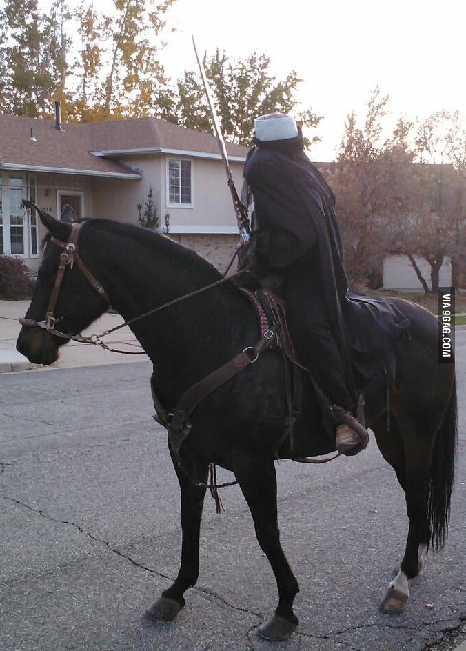 He has a horse and this is his Halloween costume