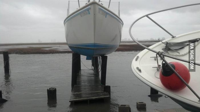 A boat post Hurricane Sandy