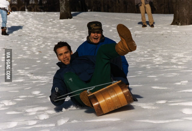 Arnold Schwarzenegger and George Bush were having fun.