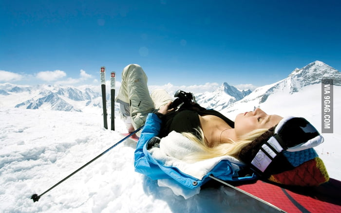 Chilling on a snow mountain.