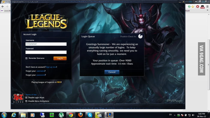 League of Legends Beta - Login Queue - 9GAG