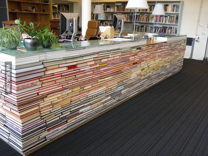 Information desk made from recycled books.