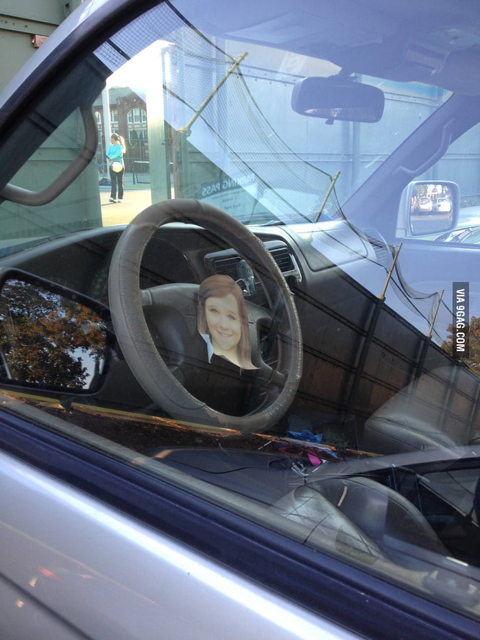 I think the driver must really hate the girl.