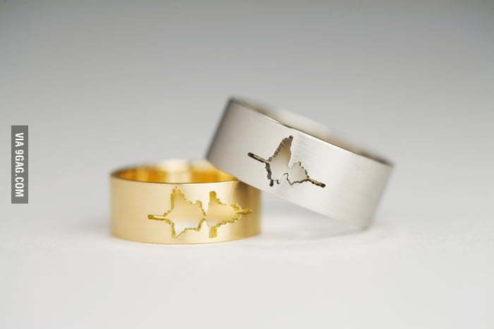 "Waveform wedding rings using the couple's own voice, ""I do""."