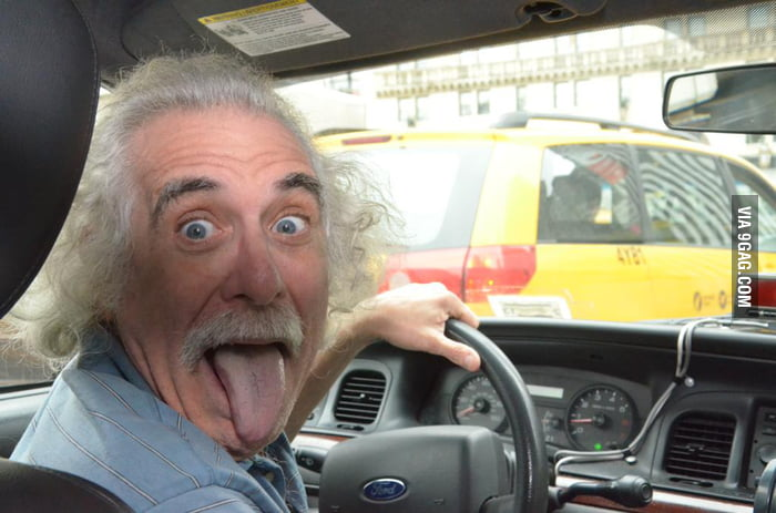 Taking a cab and the cab driver gave a weird look