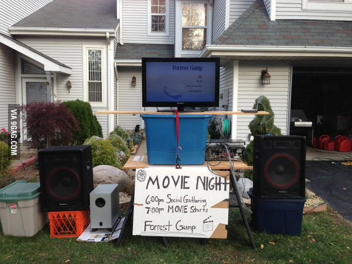 My neighbor hosted a movie night after the Hurricane Sandy.
