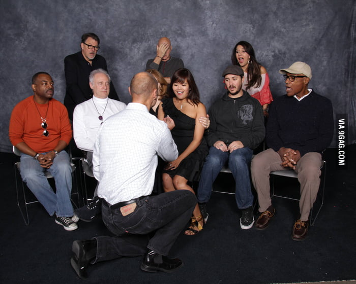 Proposing in front of the Star Trek cast. Got a facepalm.