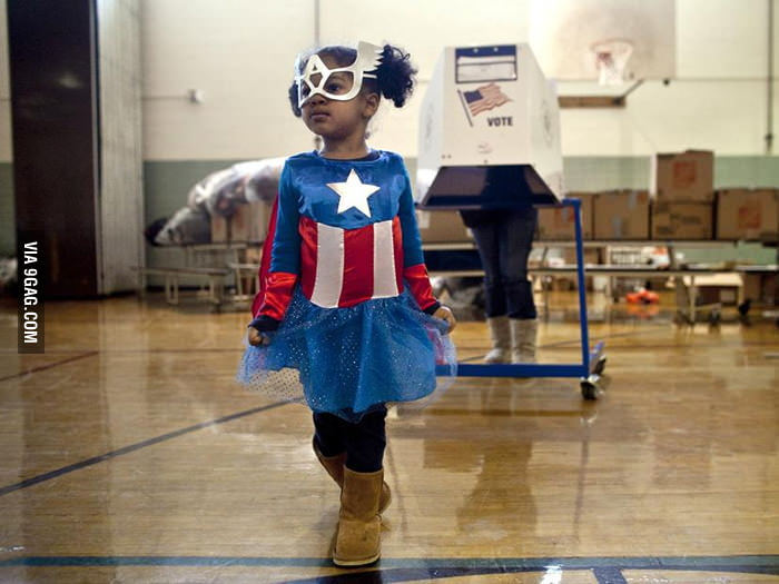 Cute Captain America walking out of the voting booth.