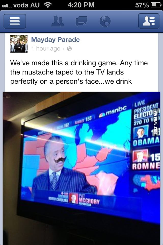 TV Moustache Drinking Game