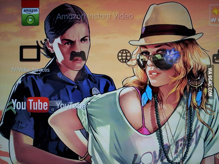 Using GTA5 wallpaper on my PS3 and the cop got a mustache.