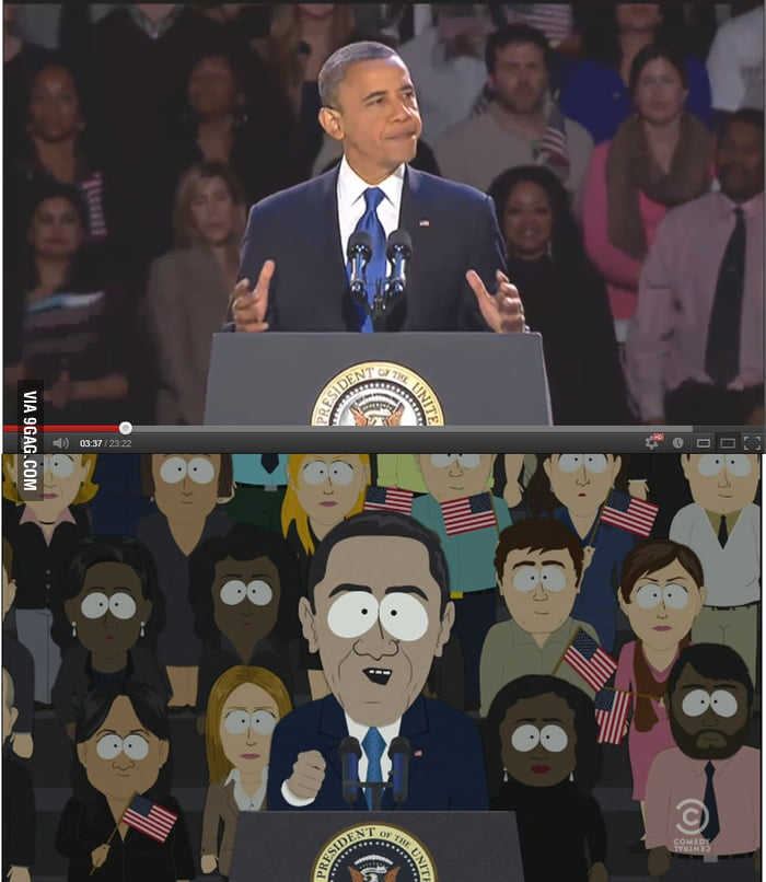 South Park nailed Obama's victory speech, even the crowd!