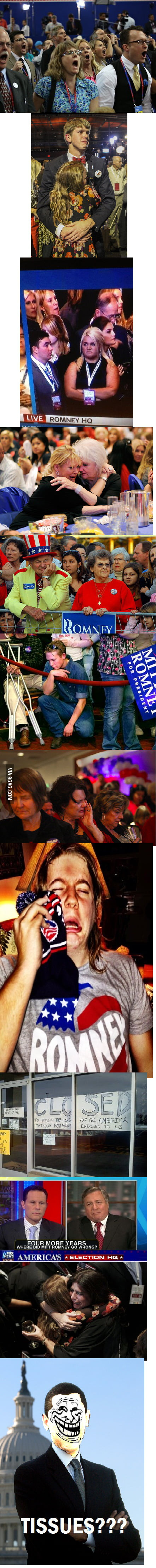 Sad conservatives are sad after the election... tissues???