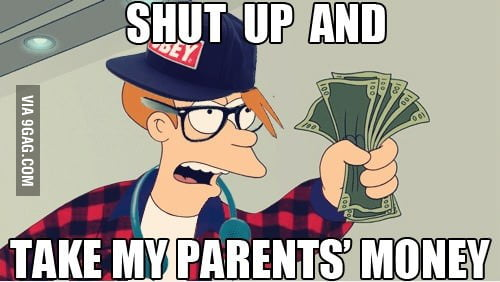 Whenever I see a college student buying expensive gadgets.