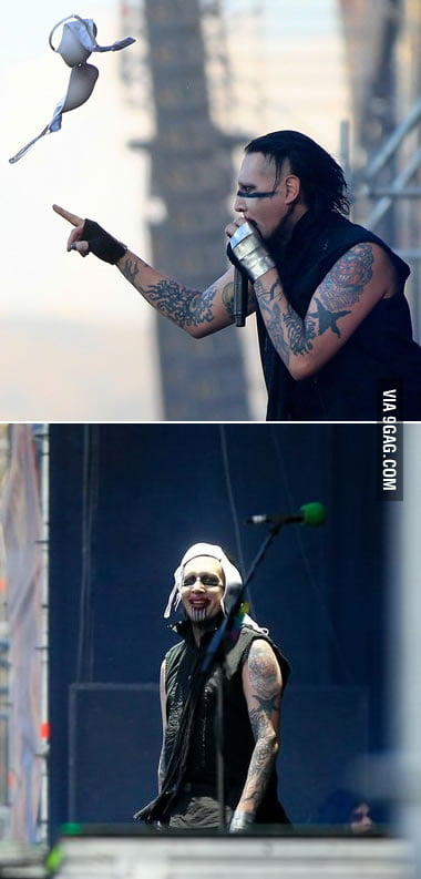 Someone threw a bra at Marilyn Manson during his Chile live.