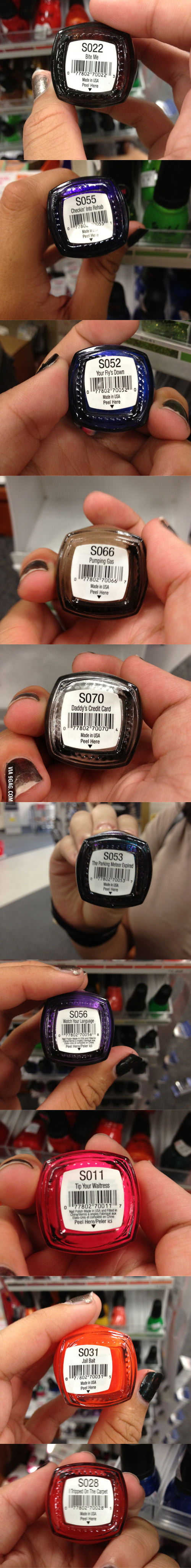 Nail polish with some interesting names.