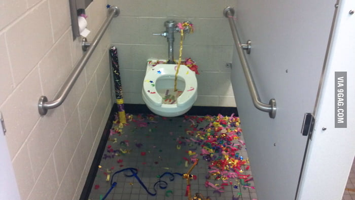 It seems that someone had a party in the toilet.